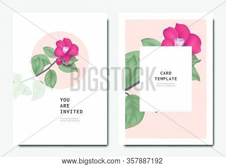 Botanical Invitation Card Template Design, Red Japanese Camellia Flowers And Leaves On Pink And Whit