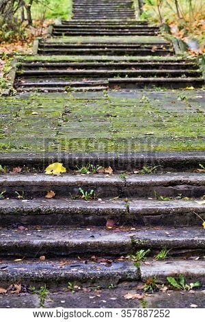 Old Staircase Made Of Concrete And Rubble, Close-up In The Park Of The Old Collapsing Structure