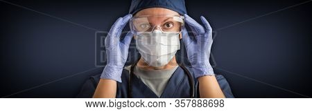 Banner of Female Doctor or Nurse In Medical Face Mask and Protective Gear.