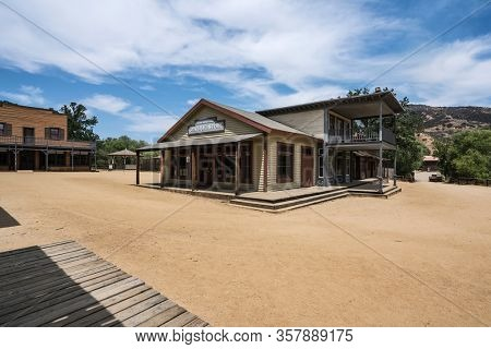 Agoura Hills, California, USA - May 29, 2018:  Historic western movie town owned by US National Park Service at Paramount Ranch in the Santa Monica Mountains Recreation Area near Los Angeles.