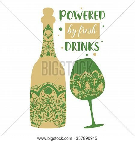Elegant Golden For Glass And Bottle With Beer And Angela For Beach Party. Vector