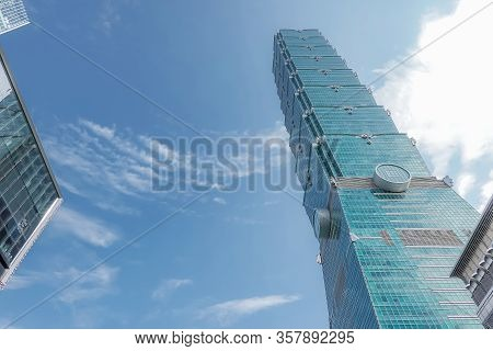 Taipei, Taiwan - May 17, 2019 : Taipei 101 Skyscraper In Taipei, The Building Ranked Worlds Tallest