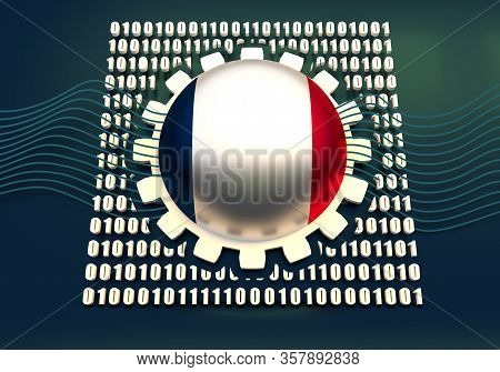 Binary Code Background With Gear And Flag Of The France. Algorithm Binary, Data Code, Decryption And
