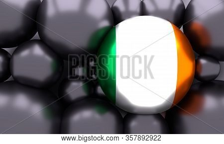 Flag Of The Ireland. Independence Day Celebration Card Concept. 3d Rendering