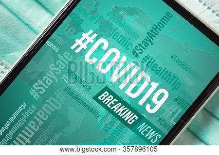 Breaking News, Coronavirus Or Covid-19 Outbreak Background Concept. Mockup Mobile Phone Covid19 News