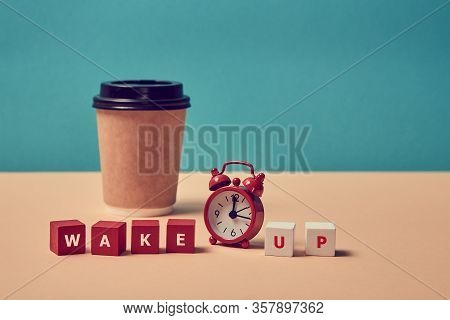 Waking Up. Morning Coffee. Start New Day. Stop Sleeping. Wake Up Inscription. Alarm Clock, Paper Gla