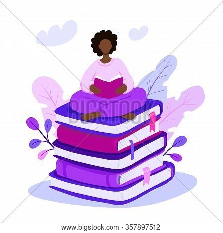 Vector Illustration Of Young African American Woman Sitting On Giant Book Pile And Reading. Motivati