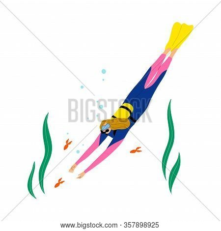 Scuba Diver Girl Swimming Underwater And Diving With Fishes In Deep-sea Or Ocean. Vector Illustratio