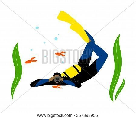 Scuba Diver Swimming Underwater And Takes Pictures Of Fish In Deep-sea Or Ocean. Vector Illustration