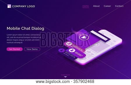 Mobile Chat Dialog Isometric Landing Page, Sms And Audio Messages Ui Mobile App Interface Layouts At