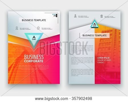 Blue Orange Business Template. Flayer Or Advertising Abstract Background For Delivery, Energy Busine