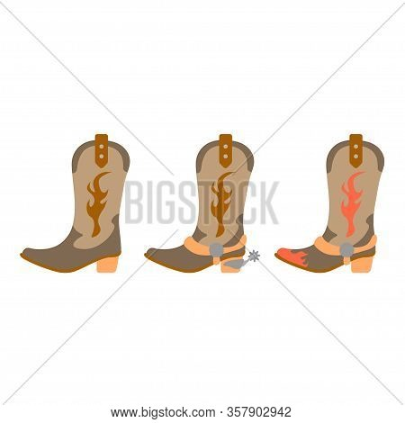 Vector Illustration Color Icon Set Simplified Leather Cowboy Boots. Wild West Cowboy Authentic Symbo