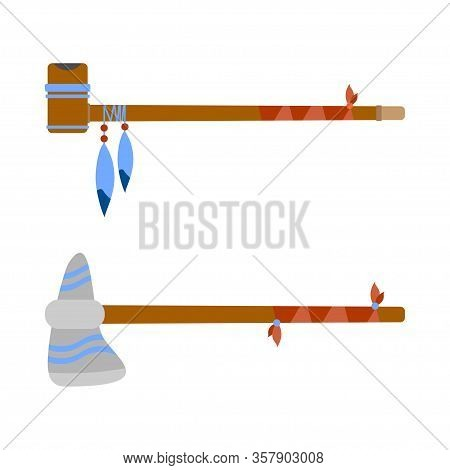 Vector Color Illustration Icon Set With Ceremonial Indian Chief Tobacco Smoking Pipe And Tomahawk. W