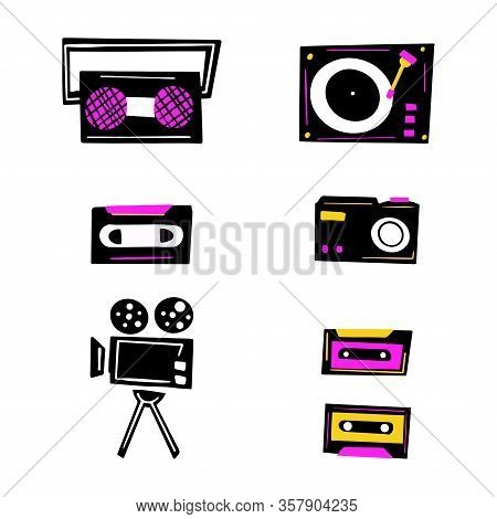 Music Player, Tape Recorder, Videotape, Movie Camera, Camera, Cassette Vector Hand Drawn Illustratio