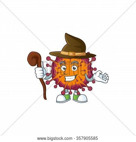 Sweet And Tricky Witch Covid19 Syndrome Cartoon Character