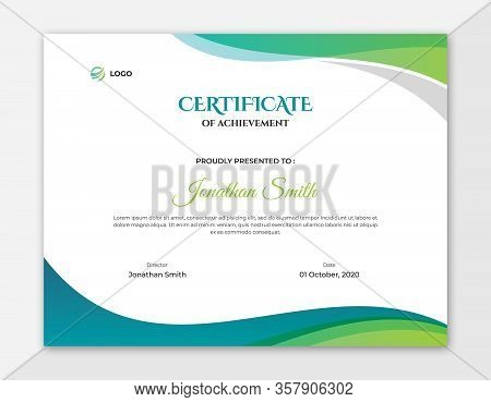 Abstract Colored Green And Blue Waves Certificate Design || Abstract Waves Vector Background Letter