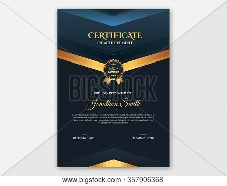 Vertical Dark Blue And Gold Certificate Template || Dark Blue Vector Background A4 Certificate With