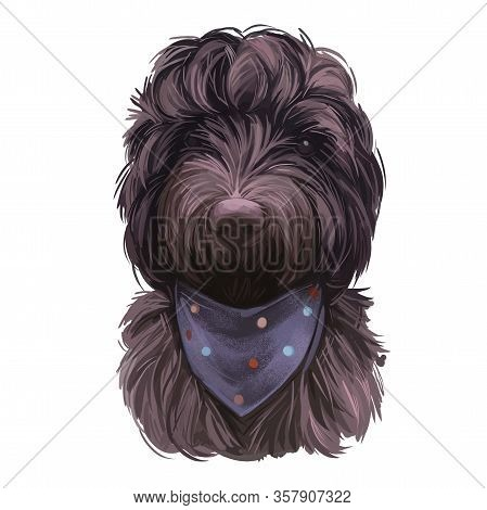 Cockapoo Black Dog Digital Art Illustration Of Cute Canine Animal. Mixed-breed Dog Cross Between Ame