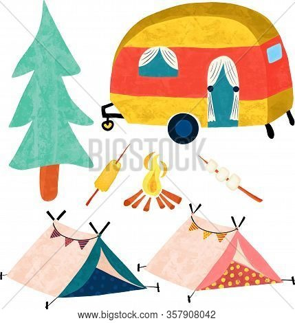 Camping Vector Icon Set. Camper Van, Tree, Tents, Campfire. Cute Vintage Style Camping Trailer.