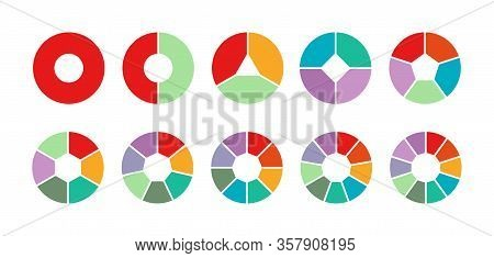 Set Of Colored Pie Charts For 1,2,3,4,5,6,7,8,9,10 Steps Or Sections To Illustrate A Business Plan,