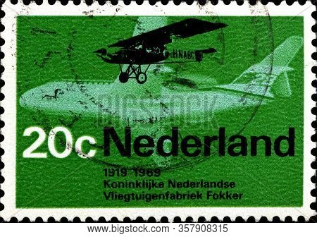 02 10 2020 Divnoe Stavropol Territory Russia The Postage Stamp Of The Netherlands 1968 Aviation 50th
