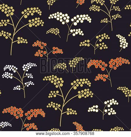 Seamless Textile Pattern With Hand-drawn Doodles Of Colorful Branches With Berries On A Dark Backgro