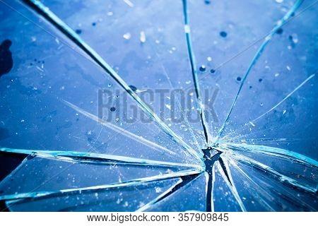 Texture Of Broken Glass In Blue Light