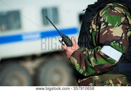 Russian Special Forces Soldiers With Weapon Take Part In Military Maneuver