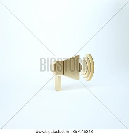 Gold Megaphone Icon Isolated On White Background. Loud Speach Alert Concept. Bullhorn For Mouthpiece