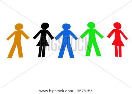 Diverse colorful people isolated on a white background poster