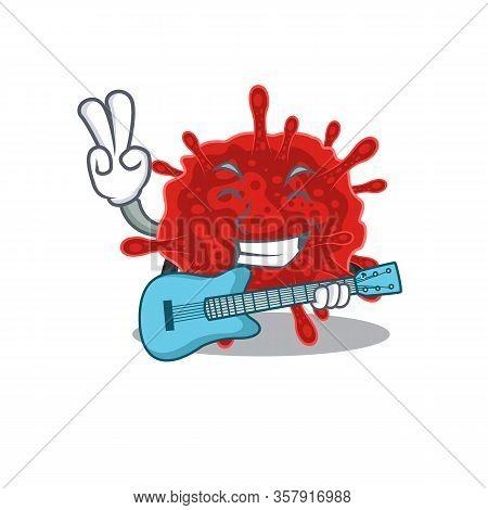 Supper Cool Buldecovirus Cartoon Playing A Guitar