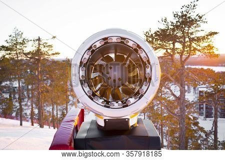 Front Part Of The Snow Cannon On A Ski Slope, Front Part Of The Snow Cannon On A Ski Slope, Detail O