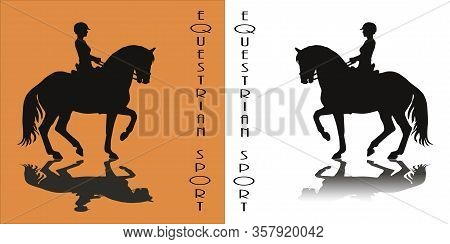 Woman Riding A Prancing Horse, Black Silhouette Monochrome Isolated Image On A White And Orange Back