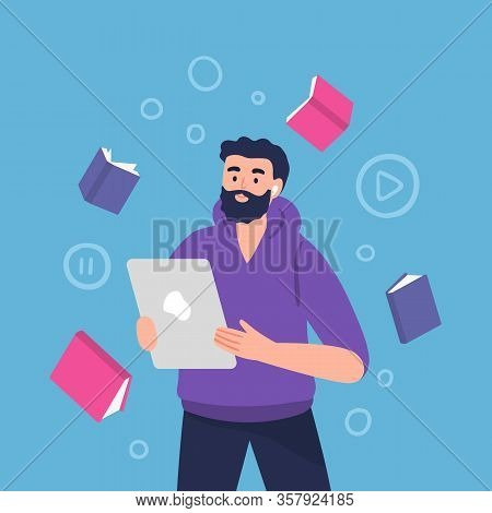 Male Character With Headphones. Vector Illustration Of A Man Listens To Music, Audiobook, Podcast Or