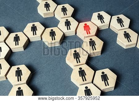 Red Human Figure In A Network. Leader And Leadership Skills. Threat Of Virus Infection. Teamwork Of