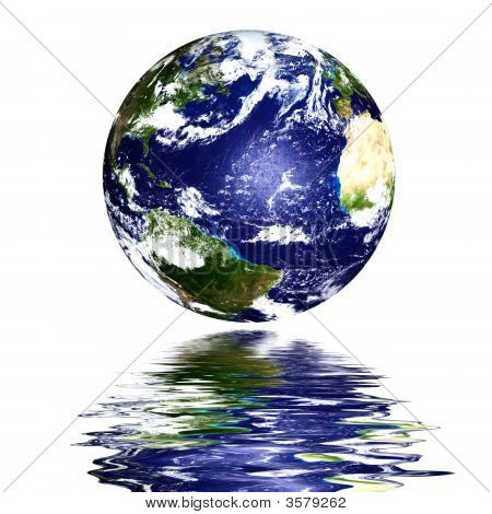 Planet Earth Reflected On Top Of Water