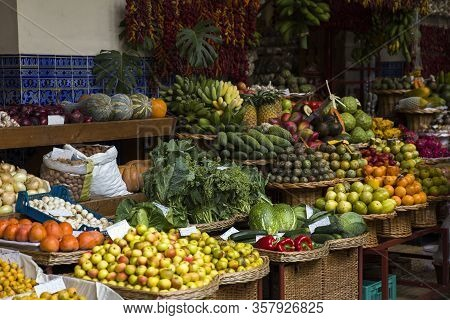 Funchal, Portugal - February 13, 2020: Detail From Mercado Dos Lavradores (farmers Market) In Funcha