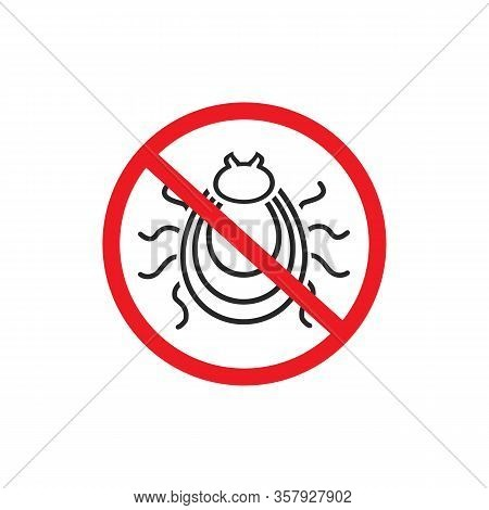 Tick Parasite Warning Sign Line Icon. Epidemic. Human Mite Parasite. Mite Parasites. Vector