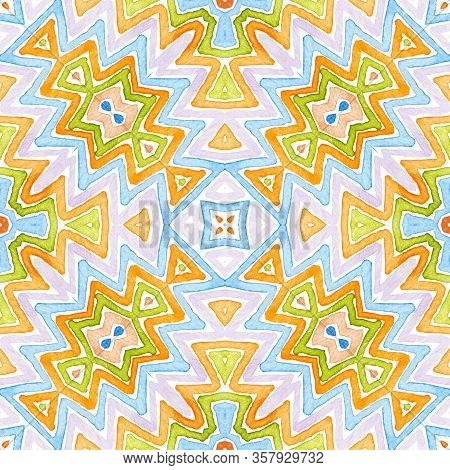 Colorful Geometric Watercolor. Dazzling Seamless Pattern. Hand Drawn Stripes. Brush Texture. Decent