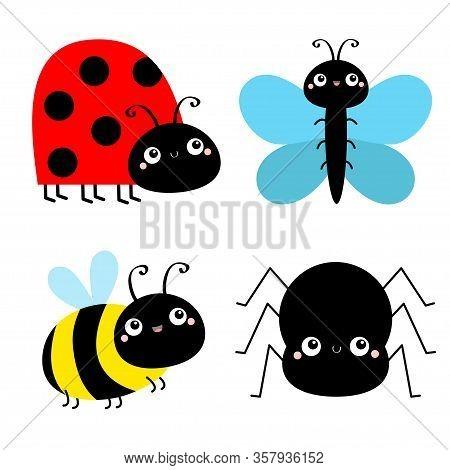 Insect Set. Bee Bumblebee, Butterfly, Spider, Ladybug Ladybird, Lady Bug. Cute Cartoon Kawaii Baby A