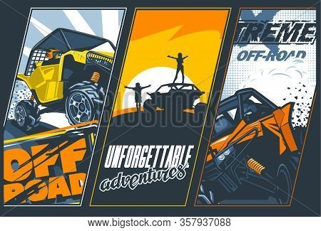 Poster Of Three Banners With Utvs Off-road Vehicles. Vector Graphics