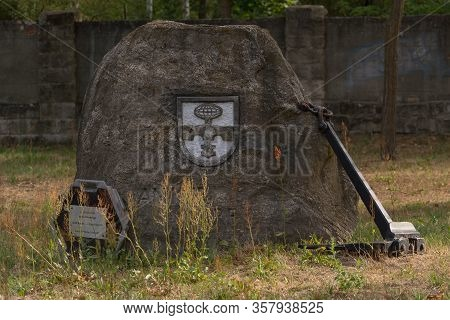 Rosslau, Germany - August 05, 2018: Rosslau, Germany - August 05, 2018:  Memorial Kaserne Roßlau. Me