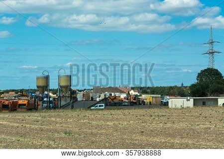 Dröbel, Germany - August 05, 2018:  Dröbel, Germany - August 05, 2018:  Landfill And Komstoffhof Lat