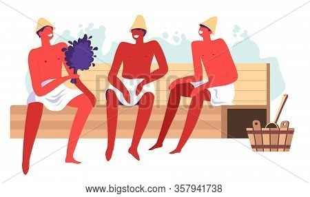 Sauna And Spa Procedures, Male Character In Hot Bath