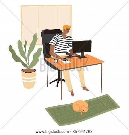 Freelancer Working On Computer, Student Preparing Lessons Online