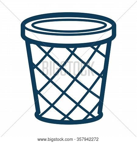 Dustbin Or Circle Container For Garbage Silhouette Outline Vector