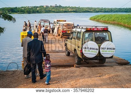 Paraa Ferry Terminal, Uganda - July 17 2011: Paraa Or Parra Vehicle Ferry Crossing The Victoria Nile