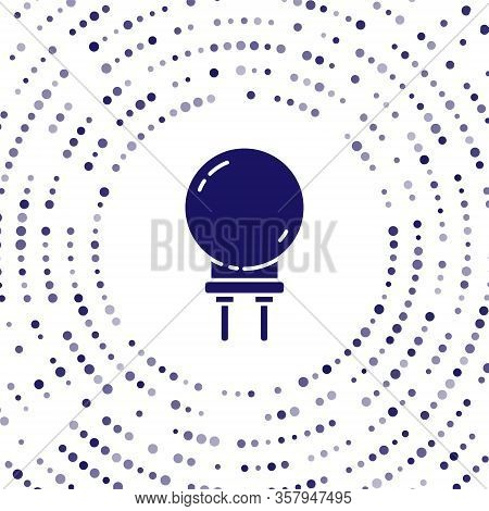 Blue Light Emitting Diode Icon Isolated On White Background. Semiconductor Diode Electrical Componen