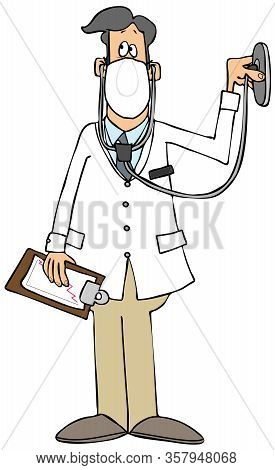 Illustration Of A Male Doctor Wearing A Lab Coat And Face Mask Using A Stethoscope.