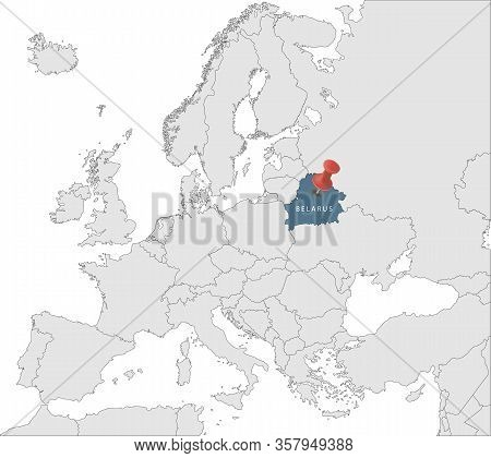 Map Of European Union With The Identication Of Belarus. Map Of Belarus. Political Map Of Europe In G